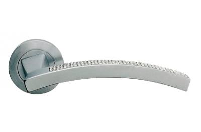 Profilo Mesh Satin Chrome Door Handle on Rosette Linea Calì Crystal