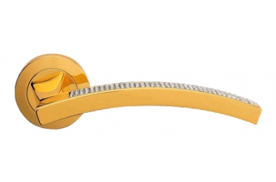 Profilo Mesh Gold Plated Door Handle on Rosette Linea Calì Crystal