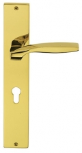 Quadrata Fashion Line PFS Pasini Brass Door Handle on Plate