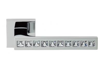 Reflex Polished Chrome Door Handle on Rosette Linea Calì Crystal