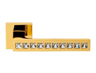 Reflex Gold Plated Door Handle on Rosette Linea Calì Crystal