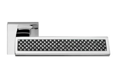 Riflesso Black Polished Chrome Door Handle on Rosette Linea Calì Crystal