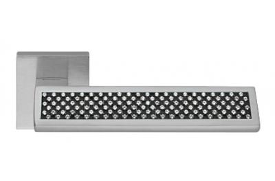 Riflesso Black Satin Chrome Door Handle on Rosette Linea Calì Crystal