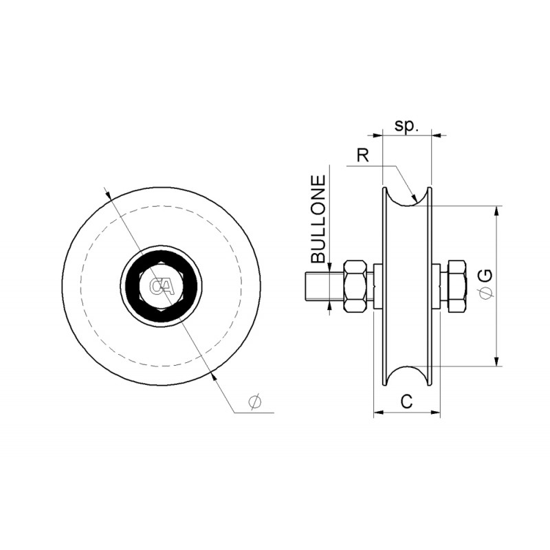 Wheel Round Groove 1 Bearing Sliding Gate Combiarialdo