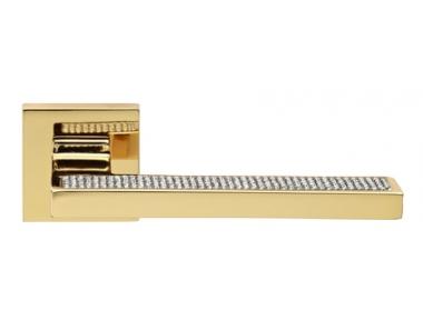 Sintesi Mesh Gold Plated Door Handle on Rosette Linea Calì Crystal