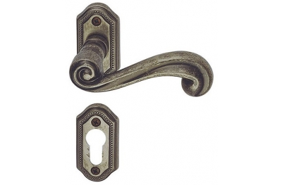Sirio Classique PFS Pasini Brass Door Handle with Rose and Escutcheon