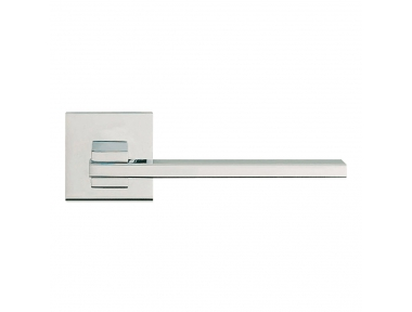 Slim Polished Chrome Door Handle With Rose With Click-Clack Ultra-Rapid Mounting Linea Calì Design