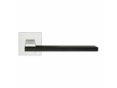 Slim Matt Black + Polished Chrome Door Handle With Rose With Click-Clack Ultra-Rapid Mounting Linea Calì Design