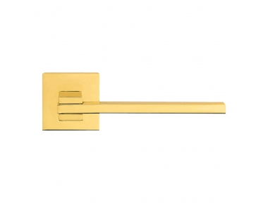 Slim Polished Brass Door Handle With Rose With Click-Clack Ultra-Rapid Mounting Linea Calì Design
