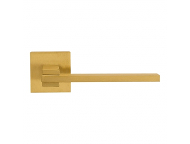 Slim Satin Brass Door Handle With Rose With Click-Clack Ultra-Rapid Mounting Linea Calì Design