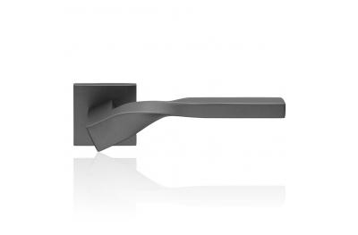 Twist Zincral Satin Anthracite Door Handle With Rose With Eclectic Shape Design Linea Calì Design