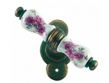 Wien Galbusera Window Handle with Rosette Porcelain and Wrought Iron