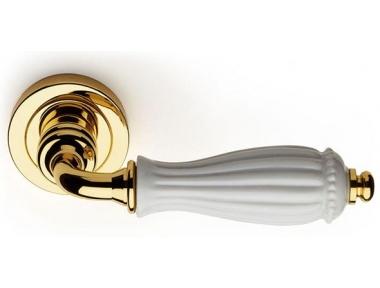 White Godiva Classique PFS Pasini Brass Door Handle with Rose and Escutcheon