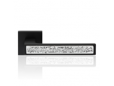 Zen Fusion Matt Black Door Handle With Rose With Click-Clack Ultra-Rapid Mounting System Linea Calì Design