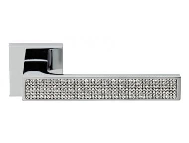 Zen Mesh Polished Chrome Door Handle on Rosette Linea Calì Crystal