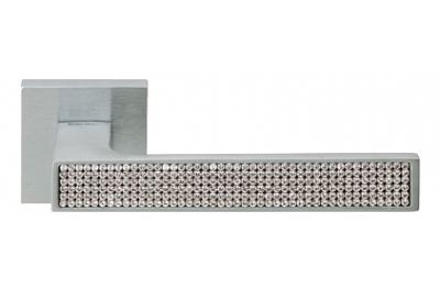 Zen Mesh Satin Chrome Door Handle on Rosette Linea Calì Crystal