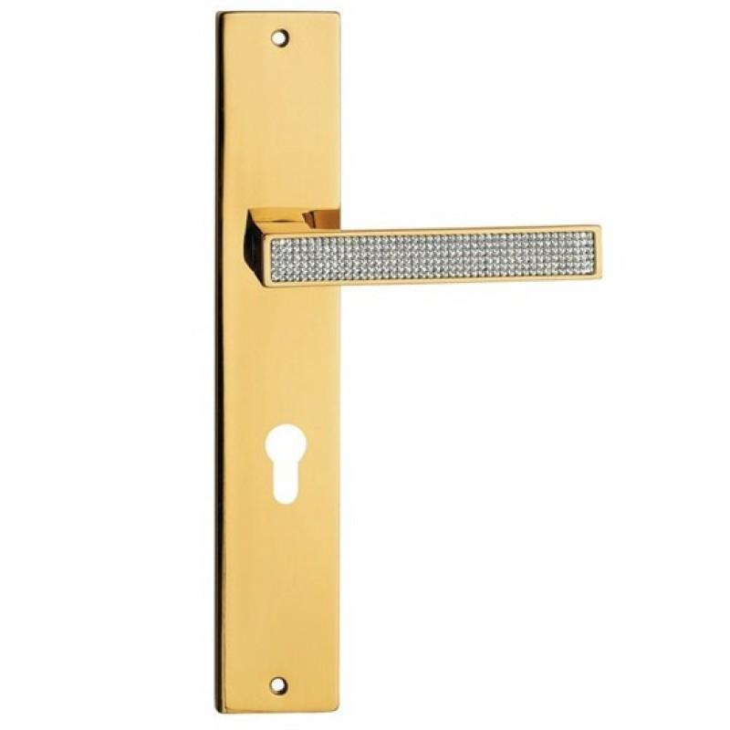 Zen Mesh Door Handle on Plate Linea Calì Crystal